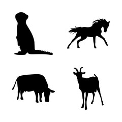 icon Animal with cow, forest, black, riding and running