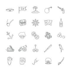 Sea adventure, pirate, weapon, treasure vector line icons set. Black marine adventure elements, illustration of marine pirate isolated on white background
