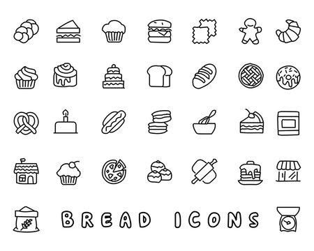 bread hand drawn icon design illustration, line style icon, designed for app and web