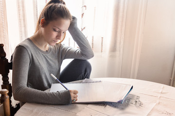 A female secondary school student doing homework at home.