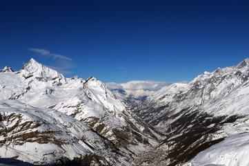 France. Panorama of the Alps in sunny weather