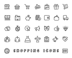 shopping hand drawn icon design illustration, line style icon, designed for app and web