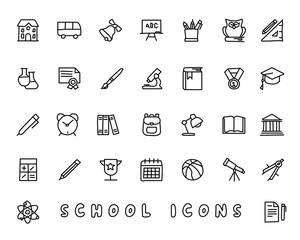school hand drawn icon design illustration, line style icon, designed for app and web
