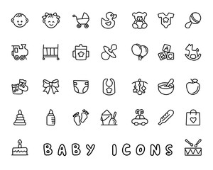 baby hand drawn icon design illustration, line style icon, designed for app and web
