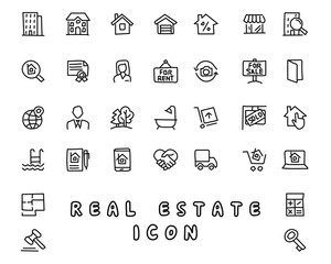 real estate hand drawn icon design illustration, line style icon, designed for app and web