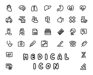 medical hand drawn icon design illustration, line style icon, designed for app and web