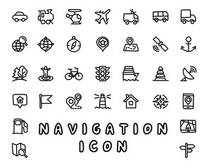 navigation hand drawn icon design illustration, line style icon, designed for app and web