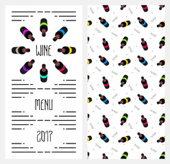 Colorful  illustration. Menu template with image of wine bottles top view. Seamless pattern with wine bottles. Discount. Wine collection. Flat design style.