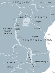 African Great Lakes. Political map with capitals and borders. Lake Victoria, Tanganyika, Malawi, Turkana und smaller ones. English labeling. Gray illustration on white background. Vector.