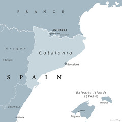 Catalonia political map with capital Barcelona and borders. Autonomous community of Spain on the northeastern extremity of Iberian Peninsula. English labeling. Gray illustration over white. Vector.