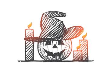 Hand drawn Halloween pumpkin face and candles