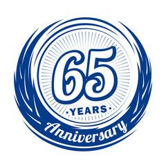 65 years anniversary. Anniversary logo design. 65 years logo.