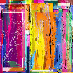 abstract background composition, with paint strokes, splashes and squares, grungy