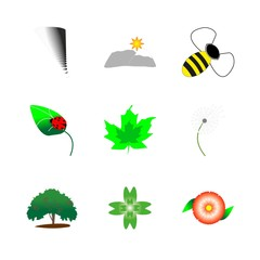 icon Nature with honeybee, leaf, bumblebee, nature and lifestyle