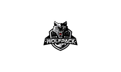 wolf, sports, team, sharp, fangs, emblem symbol icon vector logo