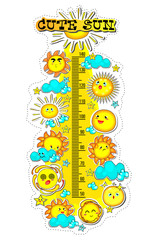 Kids height chart with collection of cute sun,summer time,Cartoon Vector illustration