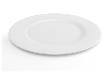 Empty white dinner plate isolated on white background