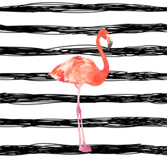 Watercolor illustration with a bird flamingo. Beautiful pink bird. Tropical flamingo on the black stripes background.