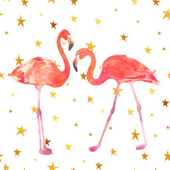 Watercolor illustration with a bird flamingo. Beautiful pink bird. Tropical flamingo on the gold stars background.