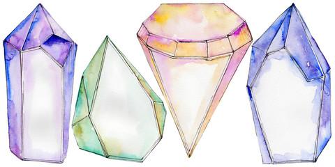 Colorful diamond rock jewelry mineral.  Geometric quartz polygon crystal stone mosaic shape amethyst gem.