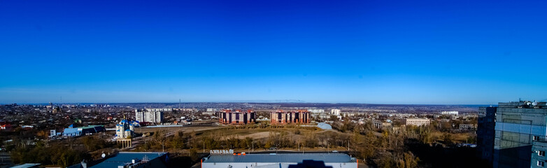 Ukraine, Lugansk - 14 July 2012: Panoramic view of the city of Lugansk from the roof of the house
