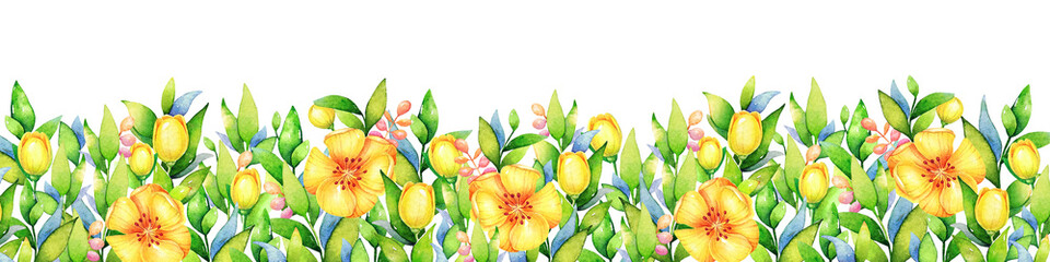 Background with watercolor yellow flowers. Useful for design of banners, cards, greetings and invitations.