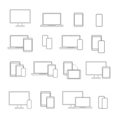 digital devices line icon set, on white background