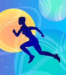 Running girl athlete in space, fantasy vector art. Strength, health, call to action and activity