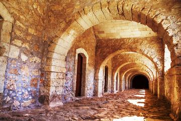 Arches of long niche. Arkadi monastery - Crete