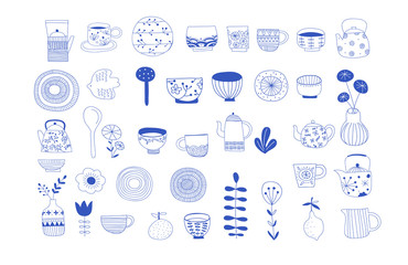 Simple, elegant and stylish collection of modern hand drawn kitchenware, japanese ceramics, logos and illustrations