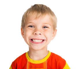 smiling boy on white background