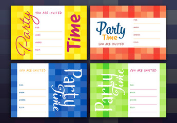4 Party Invitation Layouts with Checkered Backgrounds