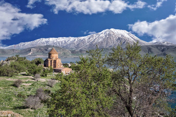 An old Armenian cathedral on island in Van city, Turkey