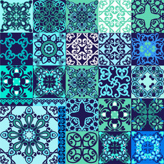 Vector set of Portuguese tiles. Collection seamless patchwork pattern tiles from Morocco, Portugal in blue colors.