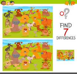 find differences game with dogs animal characters