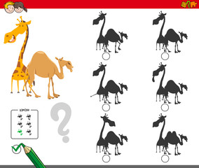 shadows activity game with giraffe and camel