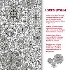 Flat poster or banner template with beautiful ornaments. Vector illustration.