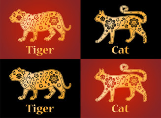 Tiger, cat, symbols of the Chinese horoscope 2022, 2023 years. Floral gold ornament