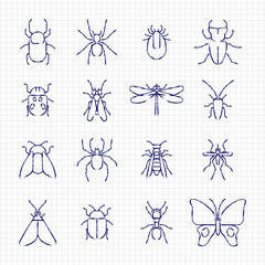 Sketch drawing line insect icons collection