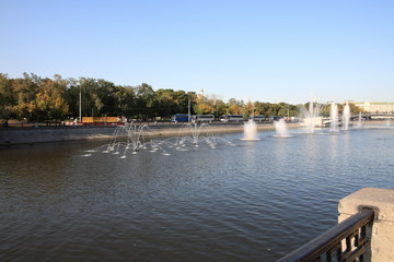 many fountain on river