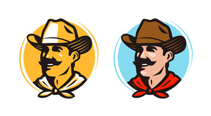 American cowboy, sheriff logo or label. Farmer, grower, farm icon. Cartoon vector illustration