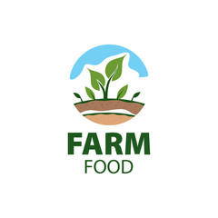 Farm food concept logo full vector