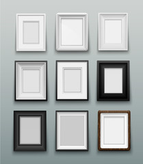 set frame for photos or paintings on wall