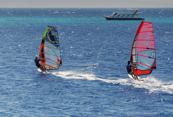 two windsurfers on sailboards are moving at a speed along the sea surface, against a background of waves and shoreline