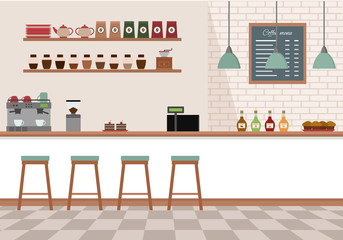 Empty cafe interior. Coffee shop with white bar counter, shelves and equipments. Flat design vector illustration.
