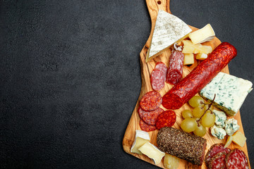 Cold meat cheese plate with salami sausage and cheese