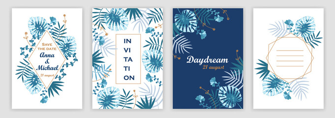 Templates of wedding invitations with a tropical pattern.  covers set. vector illustration