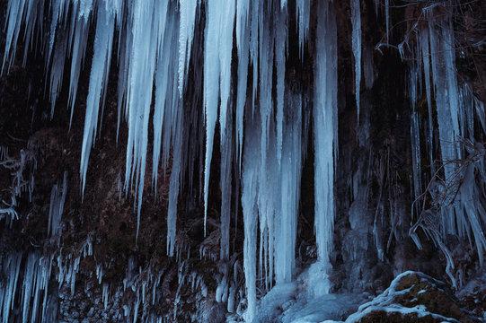 Eiszapfen des bad Uracher Wasserfalls