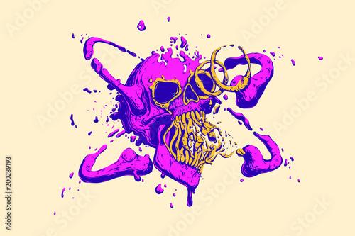 Abstract Multicolored Liquid Skull Cover Cool Trendy Vivid