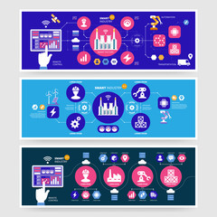 Infographics Smart industry 4.0. Artificial intelligence. Set of vector banners.
